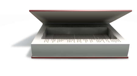 venality: A red hardback book with an empty cut away cavity in the pages for concealing something on an isolated background