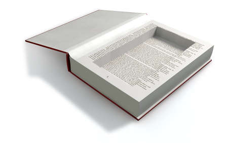 misconduct: A red hardback book with an empty cut away cavity in the pages for concealing something on an isolated background