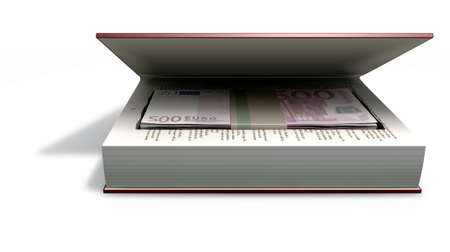 wrongdoing: A red hardback book with a cutaway area in the pages concealing a stack of five hundred euro notes on an isolated background