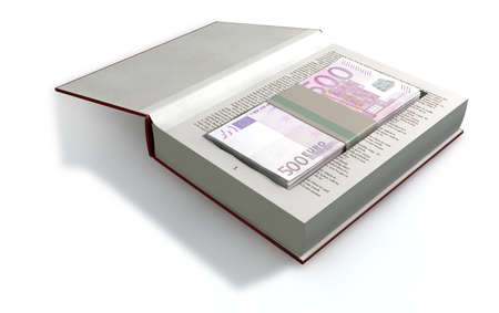 hardback: A red hardback book with a cutaway area in the pages concealing a stack of five hundred euro notes on an isolated background