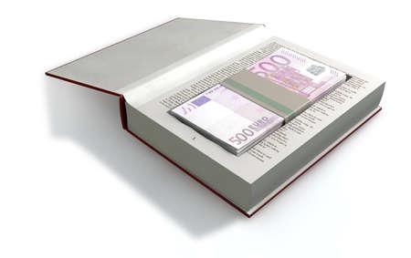 billets euro: Un livre relié de rouge avec une superficie arrachée dans les pages dissimuler une pile de cinq cents billets en euros sur un fond isolé