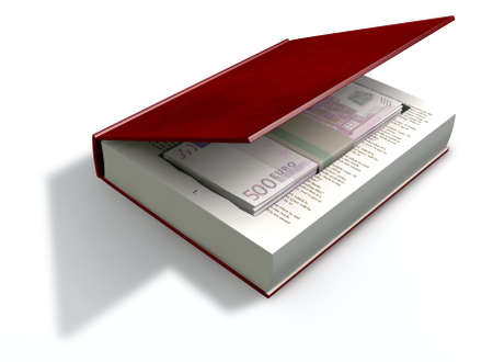 venality: A red hardback book with a cutaway area in the pages concealing a stack of five hundred euro notes on an isolated background