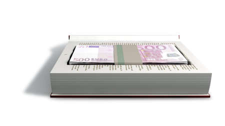 concealment: A red hardback book with a cutaway area in the pages concealing a stack of five hundred euro notes on an isolated background