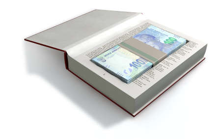 hardback: A red hardback book with a cutaway area in the pages concealing a stack of south african rand notes on an isolated background