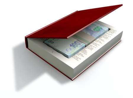 venality: A red hardback book with a cutaway area in the pages concealing a stack of south african rand notes on an isolated background