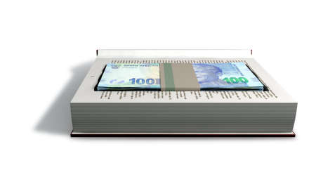 wrongdoing: A red hardback book with a cutaway area in the pages concealing a stack of south african rand notes on an isolated background