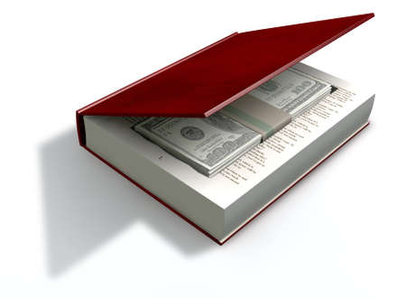 venality: A red hardback book with a cutaway area in the pages concealing a stack of one hundrred US dollar bills on an isolated background