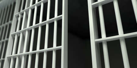 detain: A perspective view of white iron jail cell bars and an open sliding bar door on a dark background Stock Photo