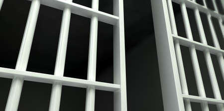 correctional facility: A perspective view of white iron jail cell bars and an open sliding bar door on a dark background Stock Photo