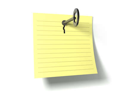 A yellow notepad page peeling upwards with a punched out key hole and a metal key inserted in it on an isolated background photo