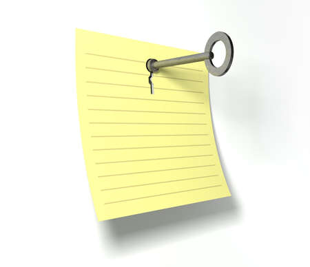 punched out: A yellow notepad page peeling upwards with a punched out key hole and a metal key inserted in it on an isolated background