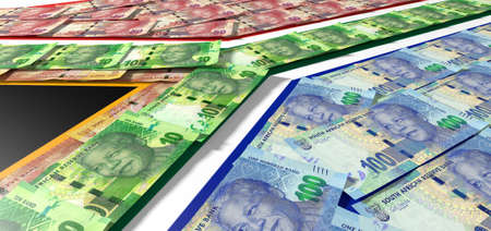 noted: A collection of south african rand noted laid ontop of and matching the colors of the south african national flag Stock Photo