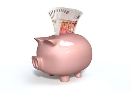 A pink ceramic piggy bank on an isolated white background with a wad of british pound notes stuffed into its slot photo