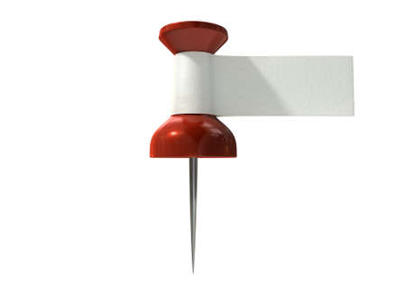 directive: A red thumbtack with a blank white tape tag attached to it on an isolated white background Stock Photo