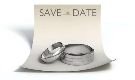 wedding bands: Un matrimonio o el concepto de compromiso con un hombre y la mujer alianzas de boda de plata con una nota de papel rizado con un encabezado que dice guardar la fecha en un fondo blanco aislado