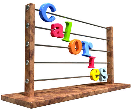 sustenance: An abacus with various colored letters placed to spell out the word calories on an isolated white background Stock Photo