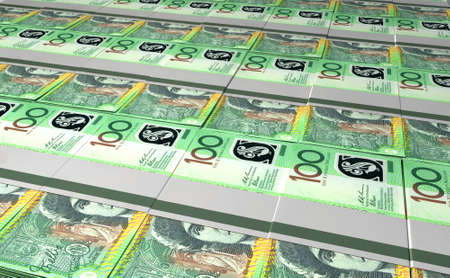 australian money: A laid out collection of bundled one hundred australian dollar bill notes