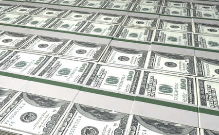 greenbacks: A laid out collection of bundled one hundred dollar bill notes Stock Photo