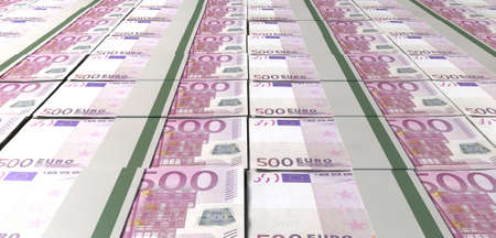 bundles: A laid out collection of bundled five hundred euro bill notes Stock Photo
