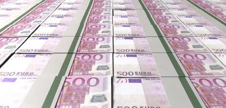 billets euro: Une collection énoncé de notes groupées cinq cents de factures euro