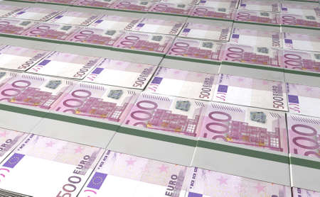 greenbacks: A laid out collection of bundled five hundred euro bill notes Stock Photo