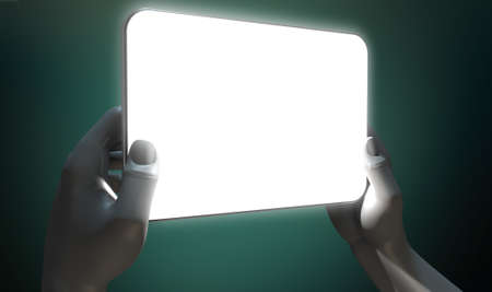 A pair of grey hands holding an illuminated modern generic tablet on a dark background photo