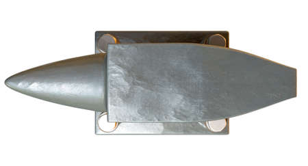 A top view of a heavy steel black anvil with four bolts holding it to an isolated background photo