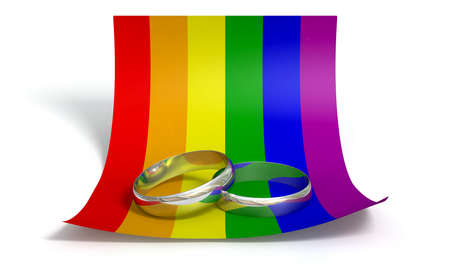 gay pride flag: A marriage or engagement concept showing two wedding bands on a curled paper note colored in the gay rainbow flag colors an isolated white background