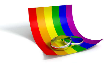 boda gay: Un concepto de matrimonio o el compromiso que muestra dos bandas de boda en una nota de papel rizado de color en los colores de la bandera del arco iris gay un fondo blanco aislado