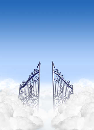 heavens gates: A depiction of the gates to heaven in the clouds open under a clear blue sky background