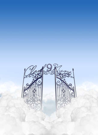 euphoria: A depiction of the entrance to cloud nine in the clouds under a clear blue sky background