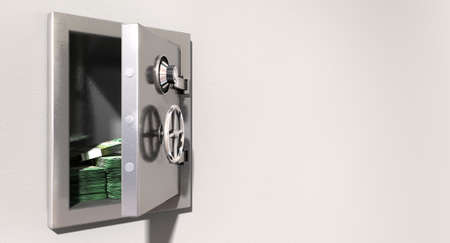 australian dollars: An open metal safe with bundles of australian dollars on a light colored isolated wall background