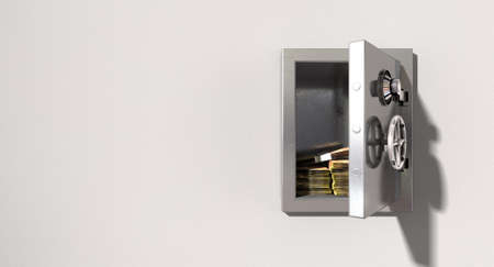 An open metal safe with bundles of south african rands on a light colored isolated wall background photo
