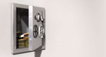 An open metal safe with bundles of south african rands on a light colored isolated wall background