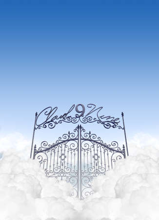 embellished: A depiction of the entrance to cloud nine in the clouds under a clear blue sky background