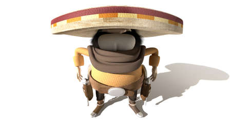 standoff: A cartoon hostile mexicano hombre with a poncho, sombrero and pistols in a holster around his waiste in ready potion for a duel on an isolated background Stock Photo