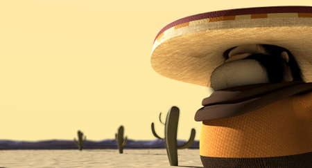 hombre: A cartoon hostile mexicano hombre with a poncho, sombrero and pistols in a holster around his waiste in ready potion for a duel in a dry hot desert Stock Photo