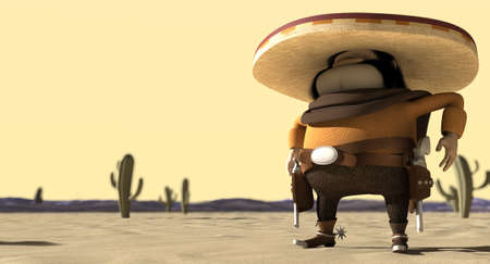A cartoon hostile mexicano hombre with a poncho, sombrero and pistols in a holster around his waiste in ready potion for a duel in a dry hot desert photo