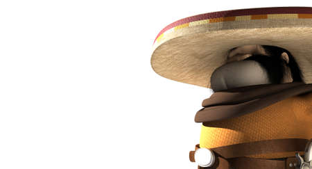 A cartoon hostile mexicano hombre with a poncho, sombrero and pistols in a holster around his waiste in ready potion for a duel on an isolated background photo
