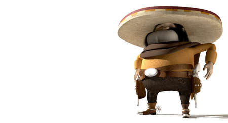 solemn: A cartoon hostile mexicano hombre with a poncho, sombrero and pistols in a holster around his waiste in ready potion for a duel on an isolated background Stock Photo