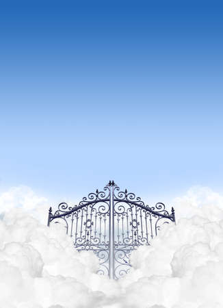 A depiction of the gates to heaven in the clouds shut under a clear blue sky background