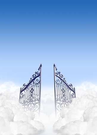 himlen: En skildring av portarna till himlen i molnen öppnar under en klarblå himmel bakgrund