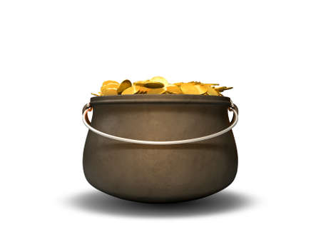 A cast iron pot filled with gold coins on an isolated background photo