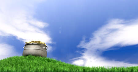 A leprechaun pot filled with gold coins on a regular green hill with a blue sky background photo