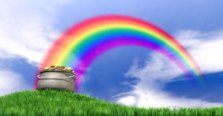 green and gold: A leprechaun pot filled with gold coins highlighted by a rainbow on a regular green hill with a blue sky background