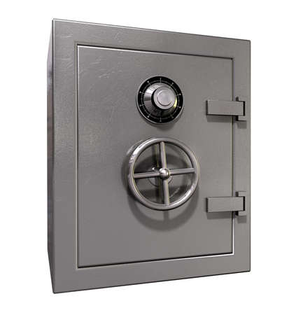 A shut metal safe on an isolated white background photo