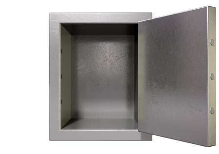 A metal safe with empty space inside on an isolated white background