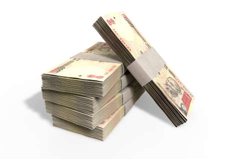 bundles: A stack of bundled one thousand rupee banknotes