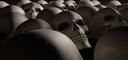 massacre: A haunting perspective view of collection of human skulls signifying a massacre of sorts