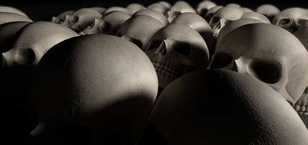 annihilation: A haunting perspective view of collection of human skulls signifying a massacre of sorts